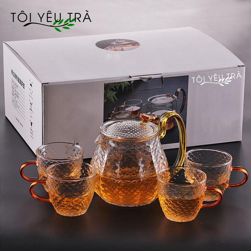 Bộ ấm chén pha trà thủy tinh chịu nhiệt phong cách Nhật Bản