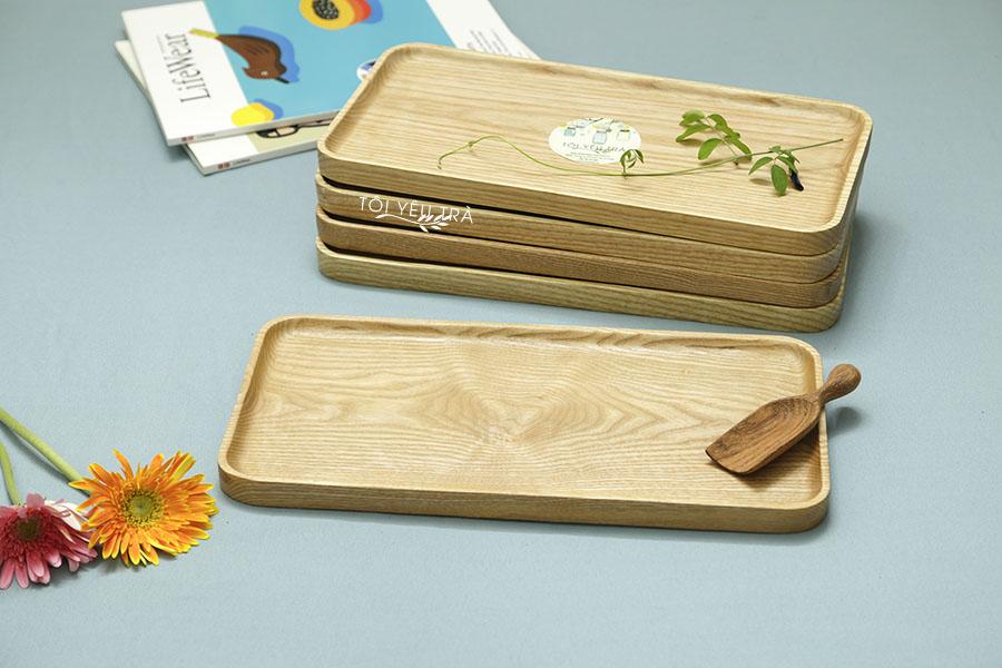 Khay gỗ chữ nhật nguyên khối bằng gỗ tự nhiên