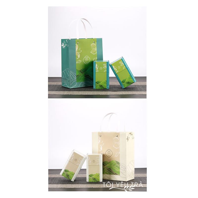 Set 2 hộp trà thiếc sáng tạo có túi đựng kèm