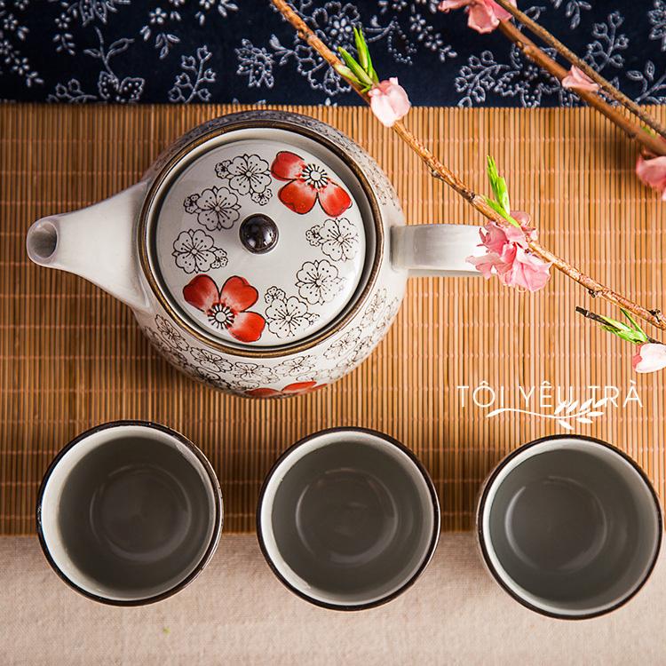 Bộ ấm tách gốm nắp nồi hoa văn phong cách Nhật Bản